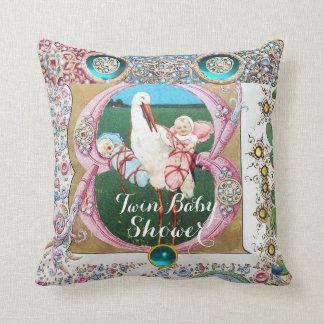 STORK TWIN BOY - GIRL BABY SHOWER,FLORAL GEMSTONES THROW PILLOW