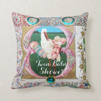 STORK TWIN GIRL BABY SHOWER,FLORAL GEMSTONES THROW PILLOW