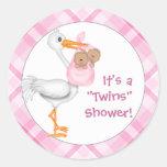 Stork & Twin Girls (dark skin) Baby Shower Classic Round Sticker