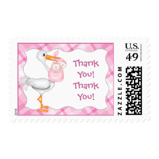 Stork & Twin Girls Thank You Postage Stamps