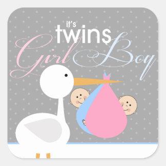 Stork Twins Baby Shower Sticker