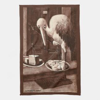 Stork Weighing New Baby Vintage Hand Towel