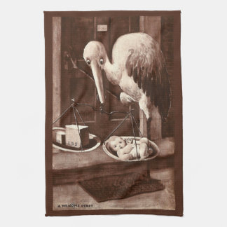 Stork Weighing New Baby Vintage Kitchen Towels