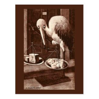 Stork Weighing New Baby Vintage Postcard