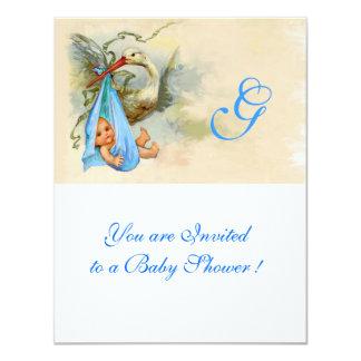 STORK WHITE BLUE BABY BOY SHOWER MONOGRAM CARD