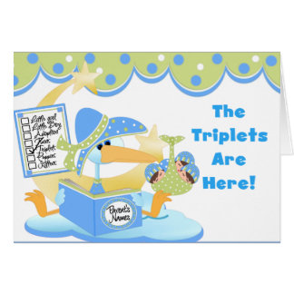 Stork White Boy Triplets Cards