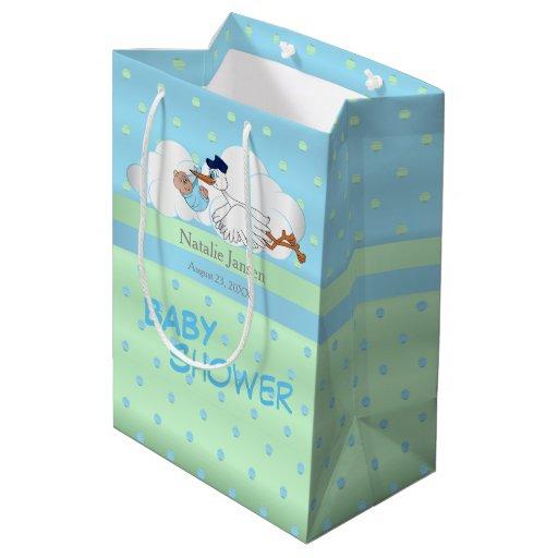 Stork with a Cute Little Baby Boy Medium Gift Bag