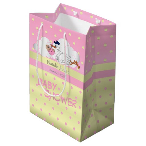 Stork with a Cute Little Baby Girl Medium Gift Bag