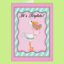 Stork with  African American Girl Triplets Card
