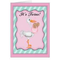 Stork with  African American Twin Girls Card