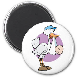 Stork With Baby 2 Inch Round Magnet