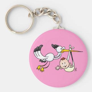 Stork with baby basic round button keychain