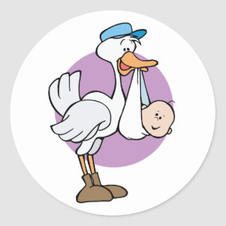 Stork With Baby Classic Round Sticker