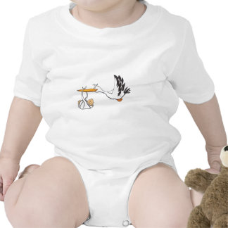 Stork with Baby - Gift for Parents to be Rompers
