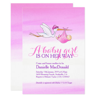 Stork with baby girl baby shower invitations