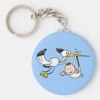 Stork with baby keychain
