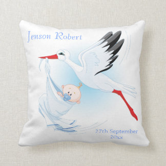 Stork with Baby New Baby Boy Pillow