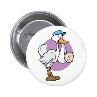 Stork With Baby Pinback Buttons