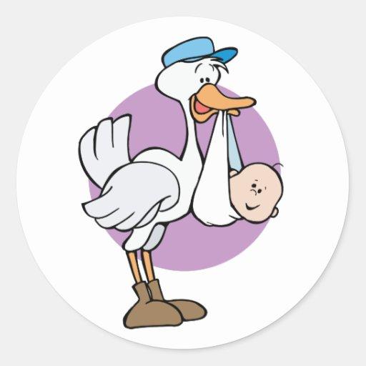 Stork With Baby Round Sticker