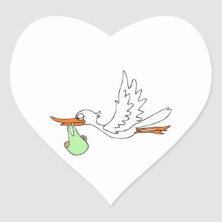 STORK WITH BABY HEART STICKER