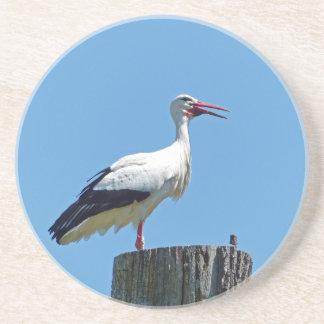 Stork with blue sky (Storch) Sandstone Coaster