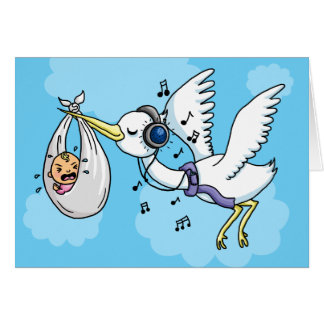 Stork with headphones deliverers boy girl greeting card