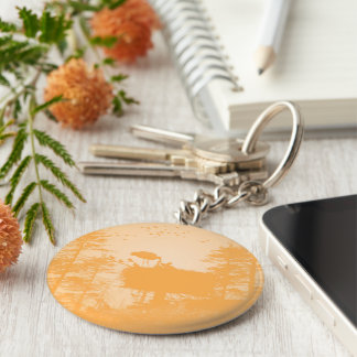 Stork with his young in the nest basic round button keychain