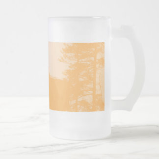 Stork with his young in the nest frosted glass beer mug