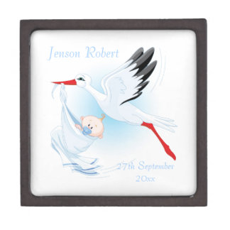 Stork with New Baby Boy Blue Premium Trinket Boxes