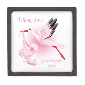 Stork with New Baby Girl Pink Premium Keepsake Box