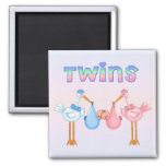 Stork with Twins 2 Inch Square Magnet