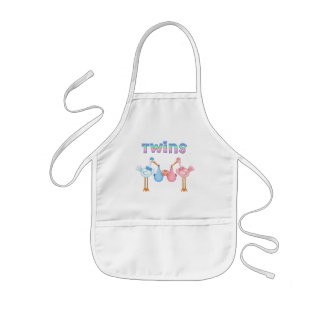 Stork with Twins Aprons