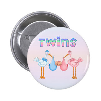 Stork with Twins 2 Inch Round Button