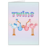 Stork with Twins Greeting Card