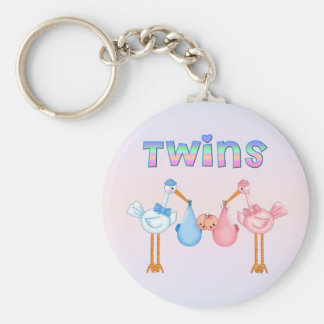 Stork with Twins Keychains