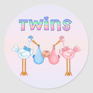 Stork with Twins Classic Round Sticker