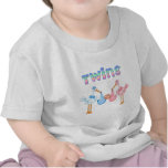 Stork with Twins Tee Shirts