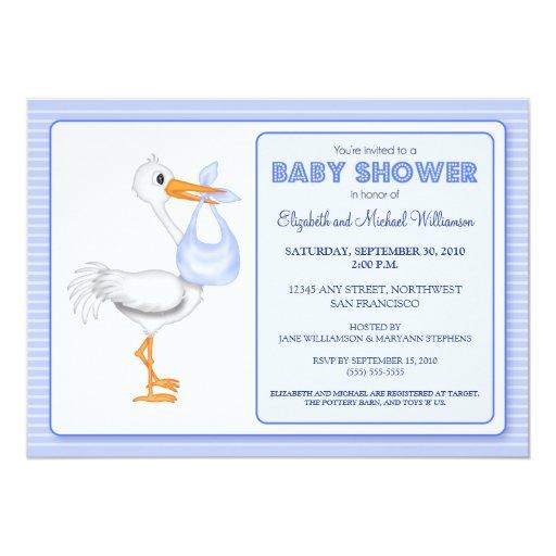 Stork 39 s arrival baby shower invitation blue zazzle for Baby shower stork decoration