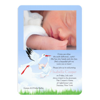 Stork's Early Delivery Photo Post Baby Shower Girl Card
