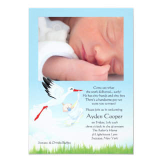 Stork's Early Delivery Photo Post Baby Shower Custom Announcements