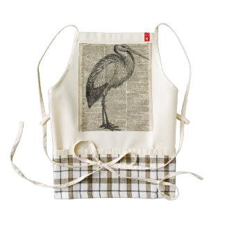 StorkWild Bird Vintage Illustration Dictionary Art Zazzle HEART Apron