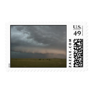 Storm Approaching Farm Postage Stamp