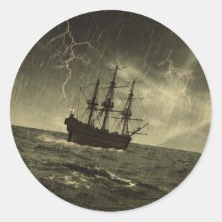 Storm at Sea Classic Round Sticker