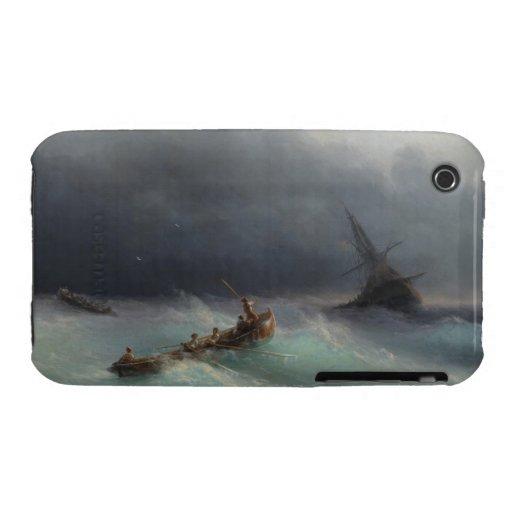 Storm at Sea Ivan Aivasovsky seascape waterscape iPhone 3 Case
