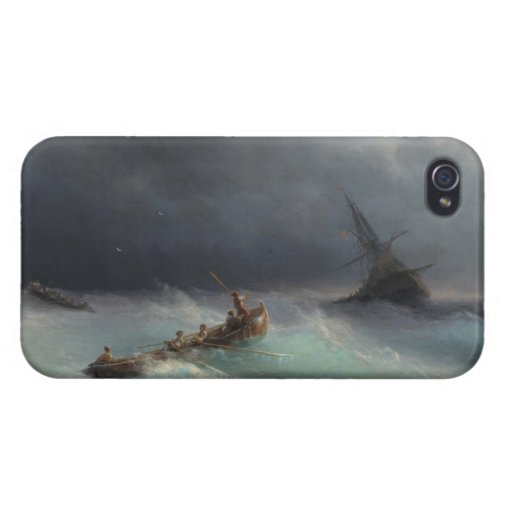 Storm at Sea Ivan Aivasovsky seascape waterscape Cases For iPhone 4