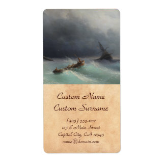 Storm at Sea Ivan Aivasovsky seascape waterscape Shipping Label