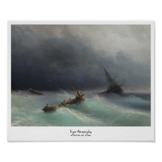 Storm at Sea Ivan Aivasovsky seascape waterscape Poster