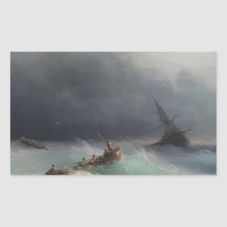 Storm at Sea Ivan Aivasovsky seascape waterscape Rectangular Sticker