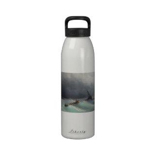 Storm at Sea Ivan Aivasovsky seascape waterscape Water Bottle