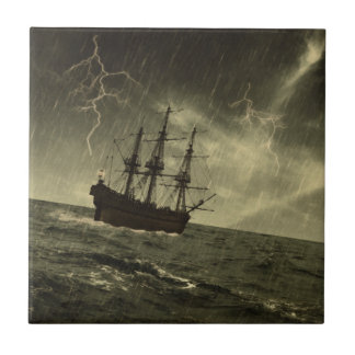 Storm at Sea Small Square Tile